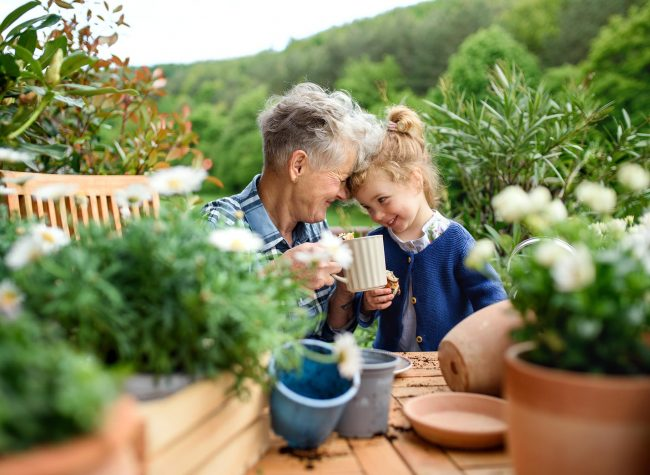 Happy senior grandmother with small granddaughter gardening on balcony in summer, resting.